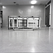 2016_107_013b Undercarriage of bed for patient weight monitoring, 1967