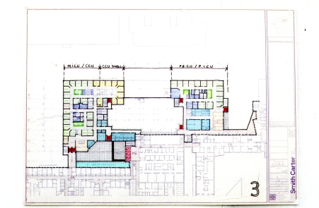 F3/P3/013 Floor plans of the new CSRP/Ann Thomas building, showing MICU/CCU and PICU on the thid floor.