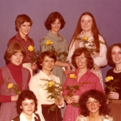 HSC2011/2 January 15 – March 23, 1979. Back row: Marlene Watson, Audrey Eccles, Lois Hawkins; Middle row: Monika Falkowski (A.H.N.), Sue Reid, Margaret Kelderman, Joanne Leeder; Front row: Diane Belec, Sandra Chilowski