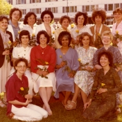 HSC2011/2 April 9 – June 15, 1979. Back row: Sandra Paproski, Barbara Westdal, Joy Thomlison, Morna Halparin (A.H.N.), Donna Sinclair, Alice Dyna (Instructor), Karen Nitzsche; Middle row: Debbie Atchison, Marian Hutchinson, Connie Romaniuk, Janet Ali, Louise Nicholson, Susan Earl; Seated: Shirley Glasgow, Donna Kirner; Missing: Mickey Shniderman (Senior Nurse)