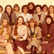 HSC2011/2 November 10, 1980 – January 23, 1981. Back row: Wendy Sigurdson, Dallas Christian, Wendy Bishop, Lois Webb, Linda Nanowski; Middle row: Heather Janis, Leona Barrett, Bonnie Maxwell, Nancy Ternent; Front row: Elizabeth (Biff) Cohoe, Lee Ann Benson, Elaine McCulough, Melodie Jo Libbrecht