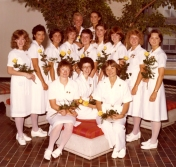 HSC2011/2 September 2, 1980 – July 31, 1981. Back row: Susan Gorman, Judy Boychuk; Middle row: Nancy Johnston, Georgina McDougall, Laura Baliant, Theresa Kruzenga, Cheryl Rathbone, Evelyn Durrant, Dawn Brown, Debbie Stutsky, Paulette Crew; Front row: Hilary Syrett, Carol Ritchie, Catherine Chambers
