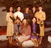HSC 2011/2 February 1981 – January 15, 1982. Back row: Brenda Yue, Maureen McGrattan, Shirley Noga, Patricia Owsley, Leslie Murchison; Front row: Kimberley Kelly, Valerie Hrymak, Marilynn McEwan