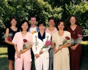 HSC2011/2 Class of August 1996. Back row: Marcella Demers, Dan Remillard, Patricia Pound, Jan Cardigan; Front row: Helen Mah, Kim Maharaj, Pauline D'Aoust