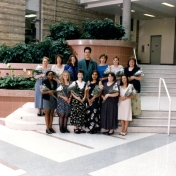 HSC 2011/2 Class of June 1998. Back row: Elaine Nagy, Catherine Courtney, Barbara Eori, Jon Stepaniuk, Heather Bower, Cheryl Windsor, Tara Angell; Front row: Claudette Ellis, Denise Adrian, Judy Strachan, Drew Pooni, Lorraine Toderash, Margaret Augusto; Absent: Laura Green.