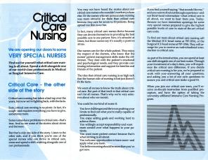 HSC2011/2: Critical Care Nursing brochure, ca. 1992.