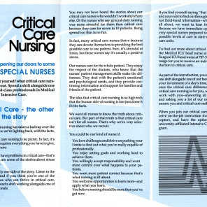 HSC2011/2: Critical Care Nursing brochure, ca. 1992.
