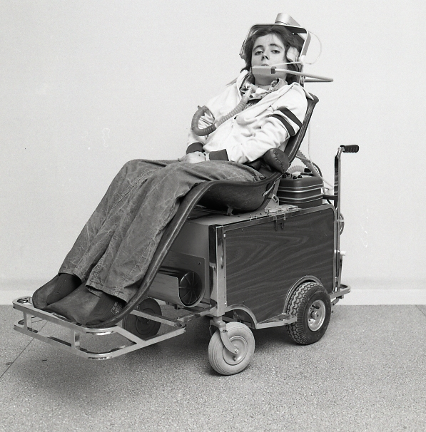 Kevin Keough in his chair, 1976.