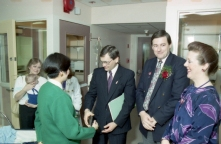 Official opening of the new Pediatric ICU, 13 December 1988. Speakers at the event included Dr. Cal Cameron (director), Don Orchard (Minister of Health), Elizabeth Auld, and Dr. Murray Kesselman (new unit director, following Dr. Cameron).