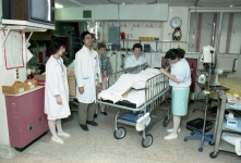 Transferring patients from the old PICU to the new PICU on the first official day of unit operations, 14 December 1988.