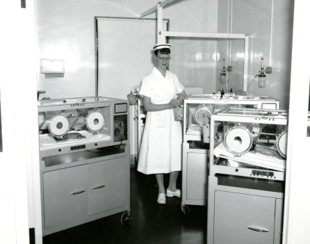 The Premature Nursery, Women's Pavilion. J. Cookson, Nurse in Charge, is pictured here. 1961,