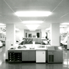 Interior view of the ICU before it was opened to patients, circa 1966