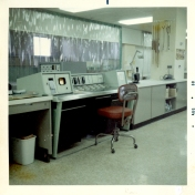 Nurses' station in ICU, August 1968