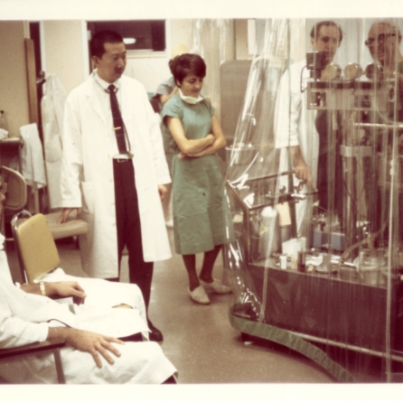 Heart-lung oxygenator, brought to Winnipeg General Hospital ICU in November 1969