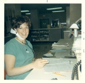 Rhoda Nelson at nursing station in ICU, June 1969