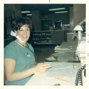 Rhoda Nelson at nursing station in ICU, June 1969