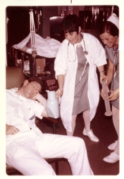 Bob Colpitts with Hedie Epp and another nurse. No date.