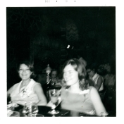 Two women, likely at ICU nursing course graduation reception. 1970.