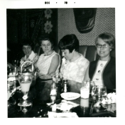 Four women, likely at ICU nursing course graduation reception. 1970.