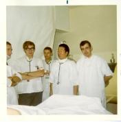 Doctors Brian Hunt (centre), Joe Lee, and Bryan Kirk. December 1970.