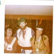 Costume party. Robert Hall in centre and Hedie Epp on far right. 1970.