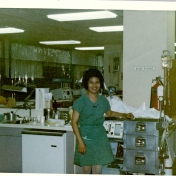 ICU nurse with emergency cart, 1969