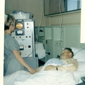 ICU nurse with patient, 1969
