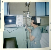 ICU nurse with monitor, 1969