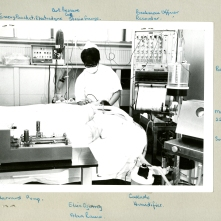 Promotional photo highlighting equipment used in ICU. Jean Highmoor has labeled the equipment. No date.