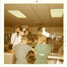 Dr. R. Perkins, Rhoda Nelson, Laura McCausland, and Gail Dueck. November 1970.