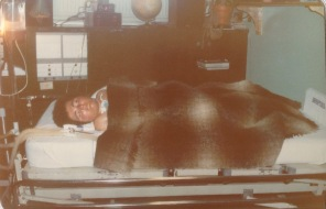 Kevin resting in his permanent room on H7. The H7 orderlies were daily assigned to do all personal care along with an RN. I used to take Kevin to social events such as concerts or sporting events on my days off. We had a great time.