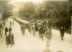 Funeral Procession. Padre Major Hooper's Gun Carriage, Pall Bearers, [Nursing] Sisters, Officers and other ranks, England