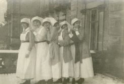 Six Nursing Sisters - Collius, Eastwood, [Ethel] Bayliss, Forrester, Bishop, Johnson, Dec 25, 1918, Buxton Palace, England