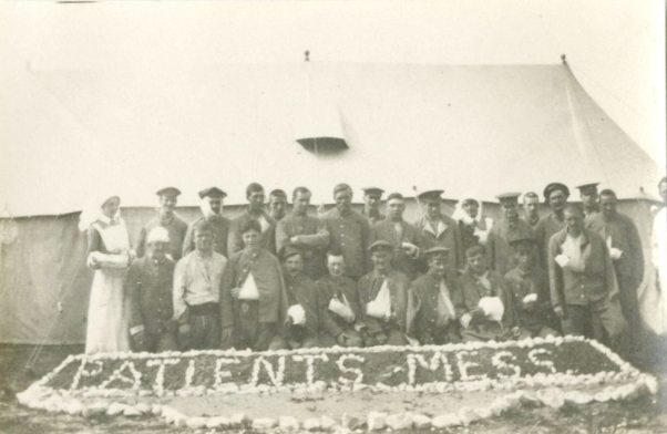 Group of unidentified men in front of Patient's Mess [Malta]