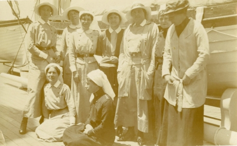 Enroute to Macedonia in 1916 [Alfreda Attrill standing second from right.]