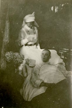 AJA [Alfreda Jenness Attrill] tending to a patient at Le Touquet. France