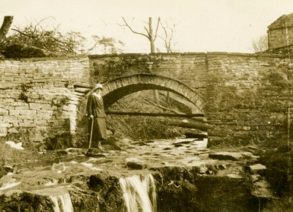 [Unidentified woman at ]Goyt's Bridge, England