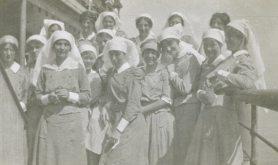 Sisters on [transport ship] Aragon returning from Salonika/Thessaloniki, Macedonia