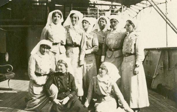 Canadian [Nursing] Sister reinforcements to #4 and #5 Can. [Canadian] General Hospitals. [Alfreda Attrill seated on the left.] Salonika/Thessaloniki, Macedonia
