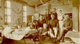 Patients in Sister Burpee's Hut, #5 [Canadian] Gen. [General Hospital], Macedonia, 1917