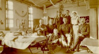 Patients in Sister Burpee's Hut, #5 [Canadian] Gen. [General Hospital], Macedonia, 1917