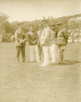 Canadian and American officers at Dominion Day sports, 1918. Buxton, England