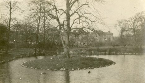 Duck pond in the gardens, Buxton, Spring 1918 England