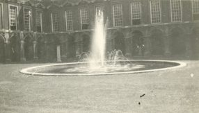 Pond with fountain near Thames embankment, England