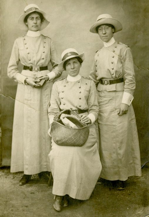 [Ada Ross, seated, and two unidentified nursing sisters.]