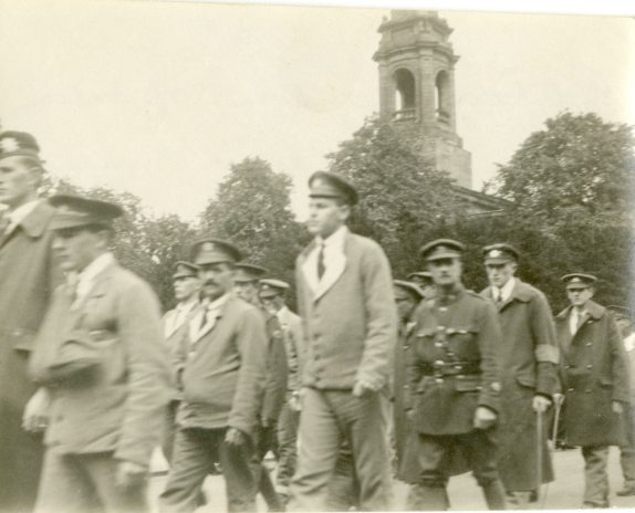 Patients - some of whom Miss Ross had nursed [marching in funeral procession, July 1918.]