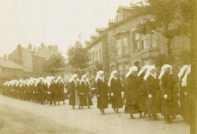 [Nursing sisters marching in funeral procession for nursing sister Ada Janet Ross, July 1918.]