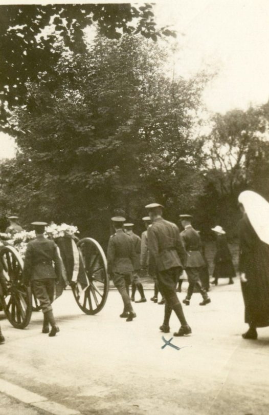 Aunt Ada's funeral with Jim Malabar [marked with x] 1918 [July 18, 1918]