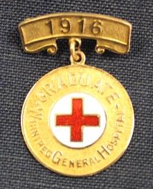 Ruby Dickie's Winnipeg General Hospital School of Nursing pin, 1916