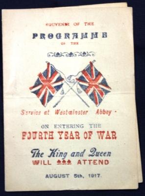Westminster Abbey Souvenir program, August 5, 1917